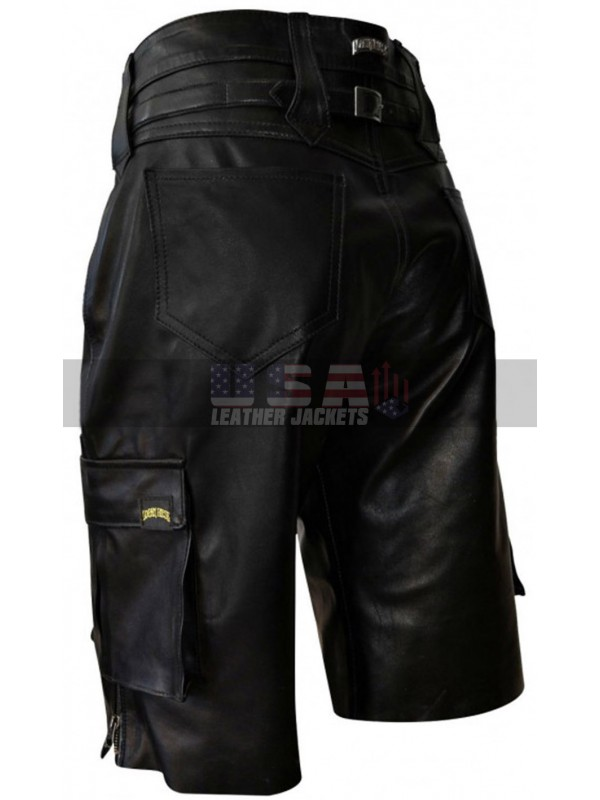 Men Multi Pockets Black Leather Shorts