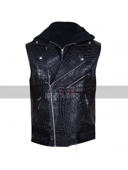 WWE Wrestler AJ Styles Crocodile Black Biker Hooded Leather Vest