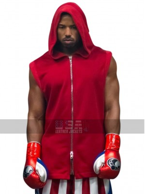 Adonis Johnson Creed II Michael B. Jordan Red Hoodie Fleece Vest