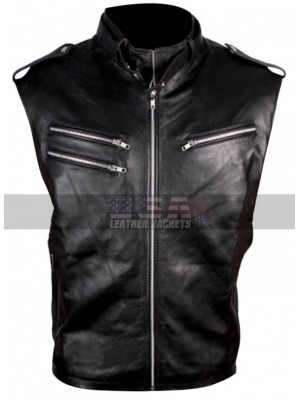 WWE Wrestler Dave Bautista Motorcycle Style Black Leather Vest