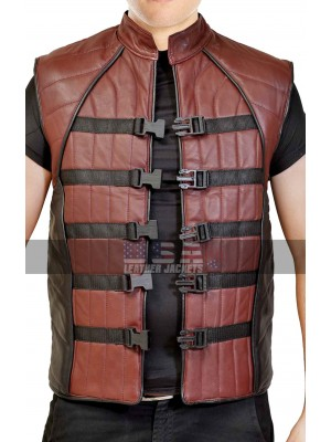 Farscape John Crichton Motorcycle Leather Vest for Mens