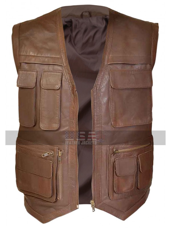 Jurassic World Owen Grady (Chris Pratt) Biker Brown Leather Vest