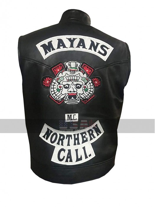 Mayans M.C. Northern Cali JD Pardo (Ezekiel Reyes) Black Biker Leather Vest