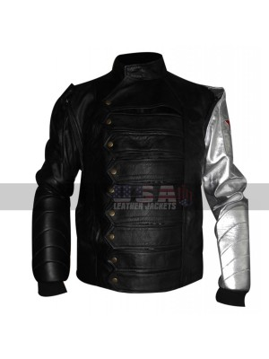 The Winter Soldier Bucky Barnes Silver Arm Moto Leather Vest