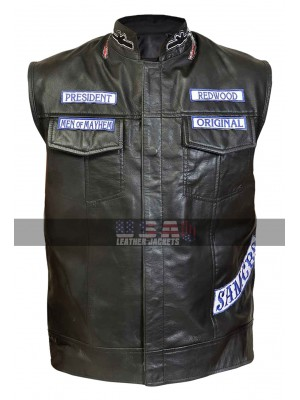Sons of Anarchy Charlie Hunnam Motorcycle Leather Vest