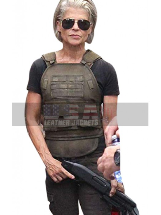 Linda Hamilton Terminator Reboot Brown Leather Vest