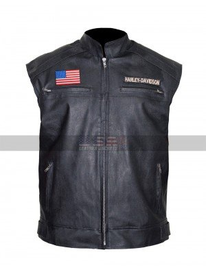 Harley Davidson Texas Flag Motorcycle Black Biker Leather Vest