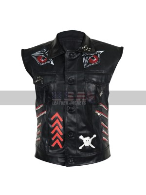 WWE Superstar Baron Corbin Motorcycle Black Leather Vest