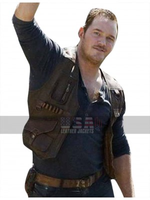 Jurassic World Fallen Kingdom Owen Grady (Chris Pratt) Brown Leather Vest