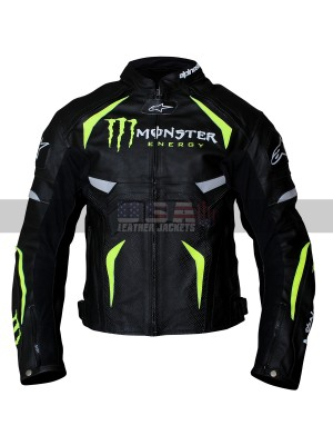Alpinestars Monster Energy Scream Padded Motorcycle Black Leather Jacket