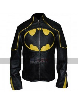 Batman Yellow Stripes Motorcycle Black Biker Leather Jacket