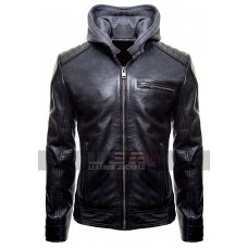 Batman Logo Brando Biker Leather Hoodie Jacket