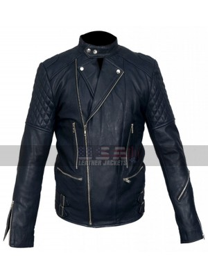 Brando Movie Style Blue Biker Leather Jacket