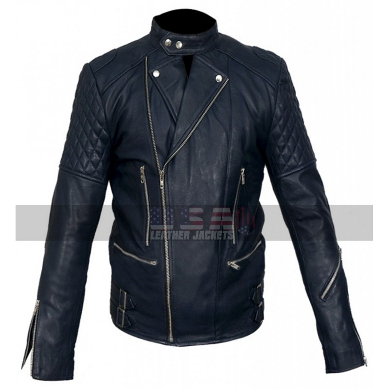 Men Cafe Racer Brando Quilted Style Blue Biker Leather Jacket