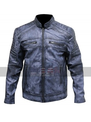 Distressed Blue Cafe Racer Biker Jacket