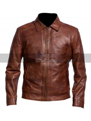 Cafe Racer Retro Slim Fit Brown Leather Jacket