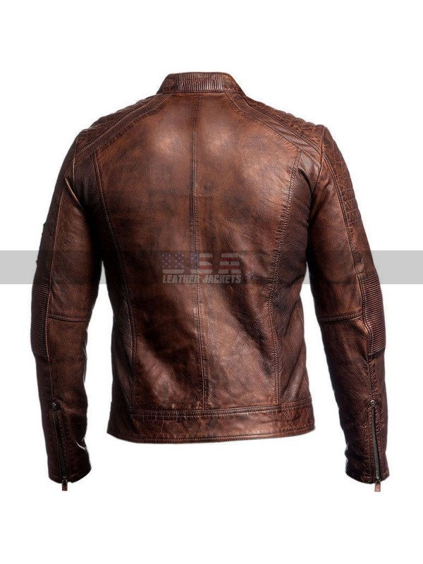 Mens Vintage Cafe Racer Distressed Brown Motorcycle Leather Jacket
