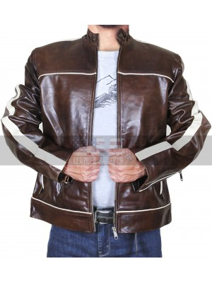 Vintage Copper White Stripes Classic Biker Brown Leather Jacket