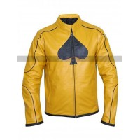 Classic Dijon Spades Mustard Yellow Biker Leather Jacket