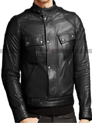 Men Vintage Front Buttoned Closure Biker Black Leather Jacket