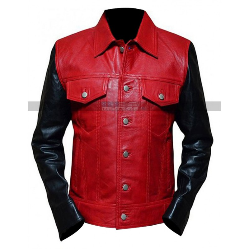 Justin Bieber Classy Slim Fit Red And Black Leather Jacket