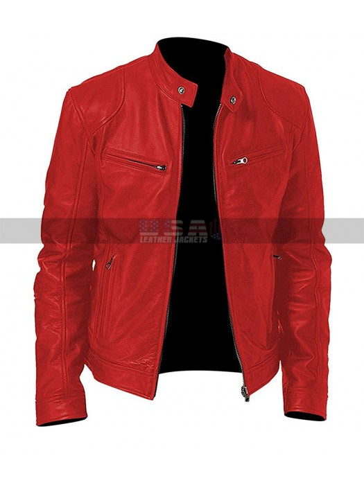Cafe Racer Red Motorcycle Vintage Biker Men Red Distressed Leather Jacket