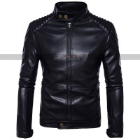 Male Cafe Racer Slim Fit Quilted Stand Collar Bomber Moto Biker Jacket