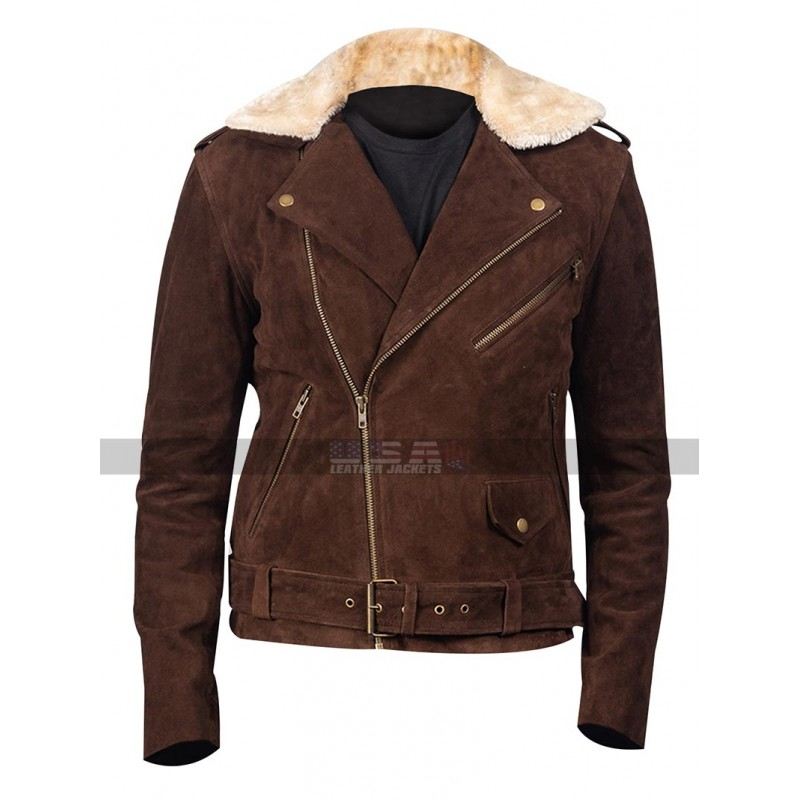 Men's Fur Collar Belted Waist Brown Suede Leather Jacket