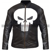 Men's Halloween Outfit For Adults Biker Skull Black Leather Jacket