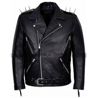 Men's Vintage Classic Metal Spikes Brando Motorcycle Black Leather Jacket