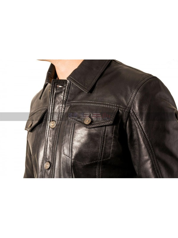 Men Casual Cafe Racer Black Trucker Tan Leather Jacket