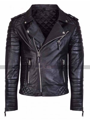 Men's Kay Michael Diamond Quilted Black Motorcycle Leather Jacket