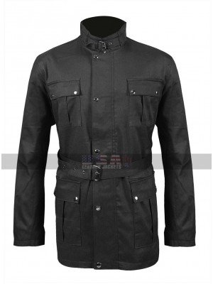 Mens 4 Pockets High Collar Belted Biker Wax Cotton Coat