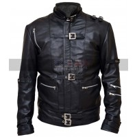 Michael Jackson Bad Mens Motorcycle Black Leather Jacket