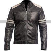 Cafe Racer Retro Hybrid Mayhem Motorcycle White Stripes Black Biker Leather Jacket