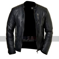 Mens Slim Fit Cafe Racer Quilted Black Biker Leather Jacket