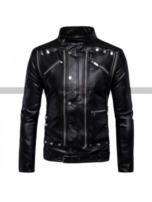 Men Cafe Racer Antique Classic Fashion Motorbike Black Leather Jacket