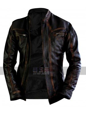 Cafe Racer Vintage Biker Distressed Brown Motorcycle Leather Jacket