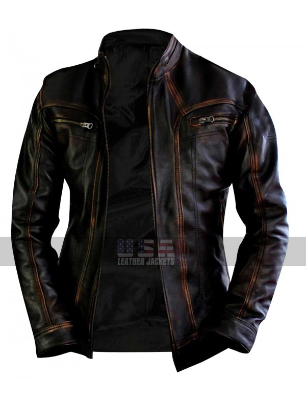ba17207bce0b Cafe Racer Vintage Biker Distressed Brown Motorcycle Leather Jacket
