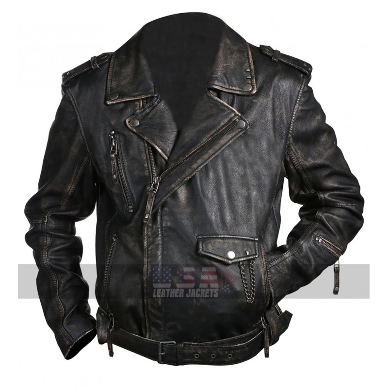 Brando Biker Vintage Cafe Racer Distressed Black Leather Jacket
