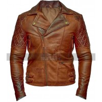 Brando Vintage Classic Diamond Biker Distressed Brown Leather Jacket