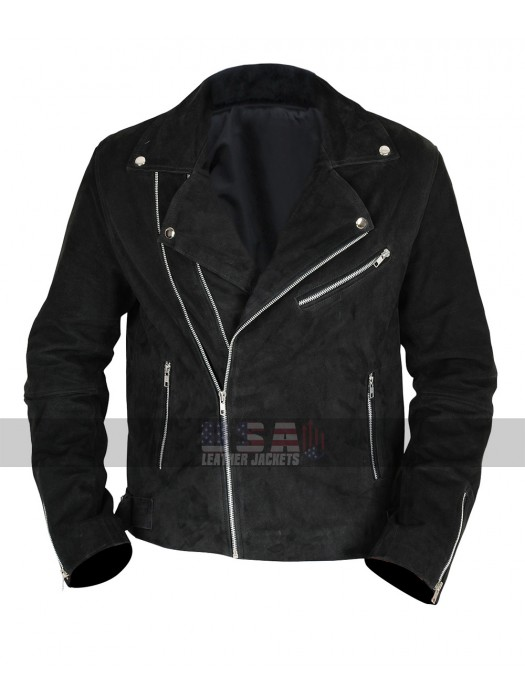 Mens Brando Biker Unique Style Black Suede Leather Jacket