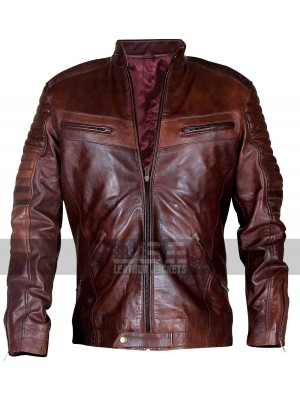 Vintage Distressed Cafe Racer Brown Biker Leather Jacket