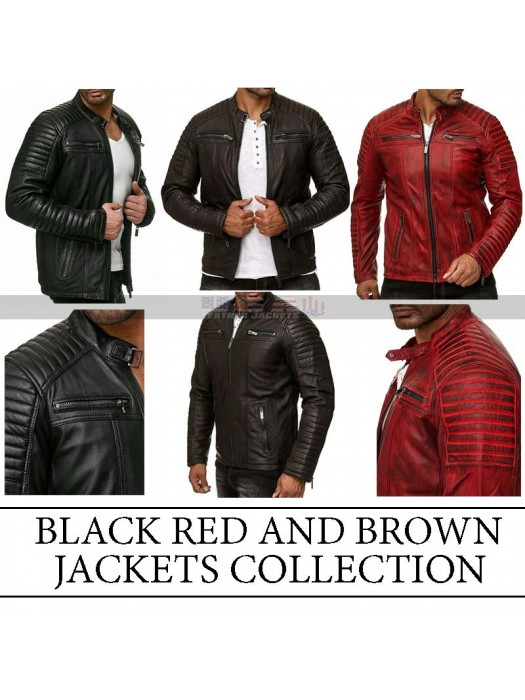 Men's Vintage Motorcycle Cafe Racer Retro Distressed Leather Jackets