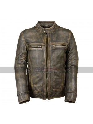 Vintage Biker Triple Stitch Cafe Racer Distressed Brown Wax Leather Jacket