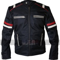 Vintage Cafe Racer Retro Cordura Black Biker Jacket
