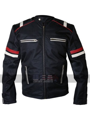 Vintage Cafe Racer Retro Cordura Black Biker Leather Jacket