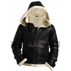 Men's B3 Aviator Pilot Fur Shearling Bomber Flight Black Leather Hoodie Jacket