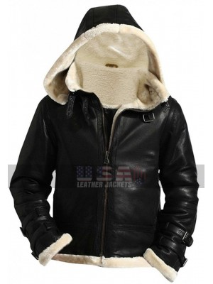 B3 Mens Ginger Sheepskin Shearling Fur Flying Pilot Aviator Jacket