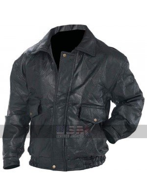 Mens Bomber Flight Coat Motorcycle Black Biker Leather Jacket